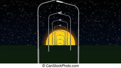 Street lights in the starry sky 4k
