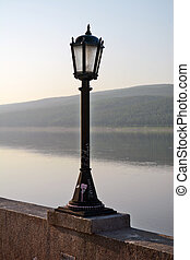 Street lights on the embankment of the River Lena