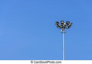 street lights over clear sky.