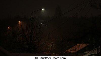 Street Lights Snow Night Car Passing - Street lights cars...
