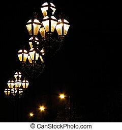 Street Lights - Street gas lamp post lit at night