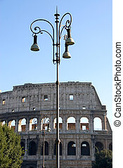 Street Lights - Street lights, with the famous Colosseum in...