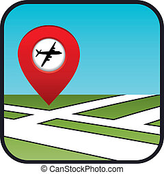 Street map icon with the pointer airport.