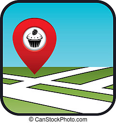 Street map icon with the pointer confectionery.