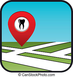 Street map icon with the pointer dental services.