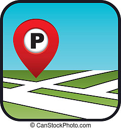 Street map icon with the pointer parking.