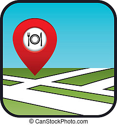 Street map icon with the pointer restaurant.