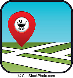 Street map icon with the pointer