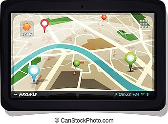 Illustration of a city map with gps icons on a tablet pc device screen, for localization app