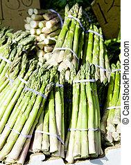 street market (green asparagus), China Town, New York City, USA