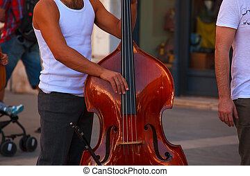 Street musician plays double bass - View of street musician...