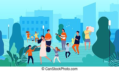 Street musicians. Musical fest, family dancing. Parents and children having fun with music vector illustration. Street music, instruments concert on air