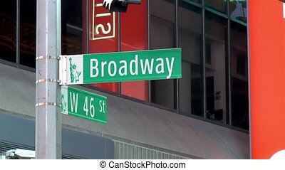 Detailed view of a street name sign in Manhattan, New York. Broadway St.
