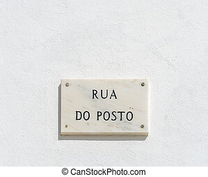 Street Name Sign in the Village of Burgau, Portugal
