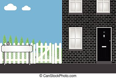 Residential home with street name sign blank for own copy space text
