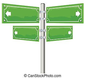 Street name signs - four blank, glossy green, metal panels showing in four different directions. Illustration on white background.