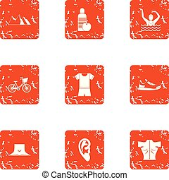 Street occupation icons set, grunge style