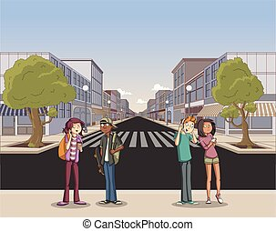 city with cartoon young people