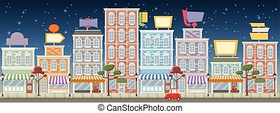 Street of a colorful city with shop