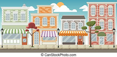 Street of a colorful city with shops