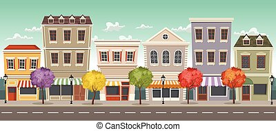 Street of a colorful city
