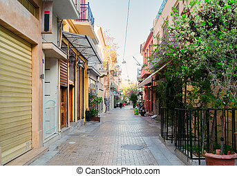 Street of Athens, Greece - small cosy street with trees and...