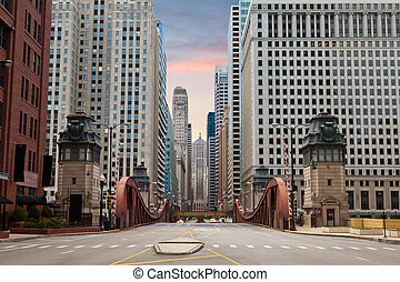 Image of La Salle street in Chicago downtown at the sunrise.