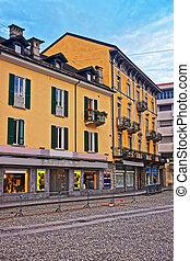 Locarno, Switzerland - August 25, 2013: Street of the city center of luxurious resort Locarno of Ticino canton, Switzerland.
