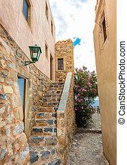 street of Monemvasia - paved street of medieval Monemvasia, ...