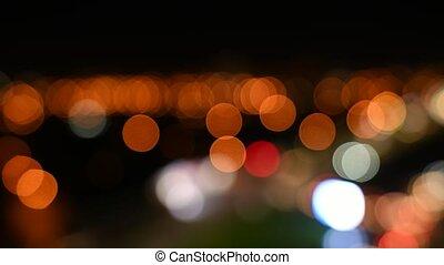 Street of nght city timelapse defocus blur video