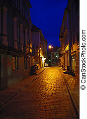 Street of old Bergen by night