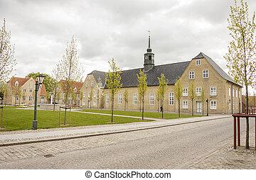 Street of old town Christiansfeld, Denmark.
