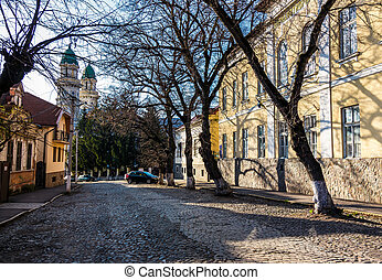 street of old town in sunny spring day. cobblestone road,...