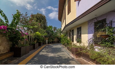 Street of old traditional turkish houses of Antalya city...