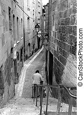 Street of perigeux in black and white (France)