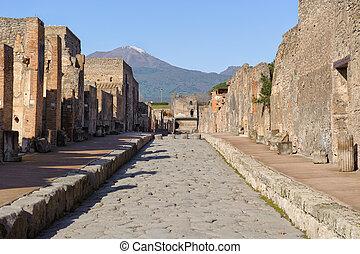 Street of pompeii - Street view of the city of Pompeii in...
