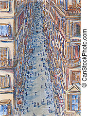 Street of Rome at high angle view. Sketch lines and...