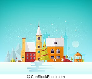 Street of small European city or town at Christmas Eve. Cityscape or landscape with antique buildings and clock tower decorated for holiday. Festive colorful vector illustration in trendy flat style.