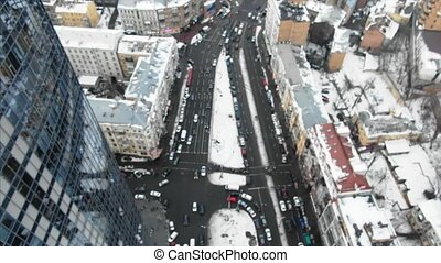 Street of the big city from a bird's eye view, winter time