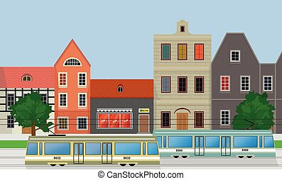 Street of the city, houses and trams..eps