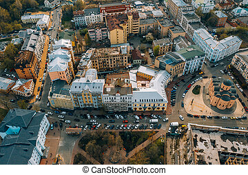 Street of the old city from a bird's eye view