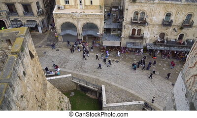 street of the old city of Jerusalem in Israel. the view from...