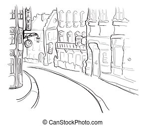 Street of the old town. Vector illustration in sketch style.