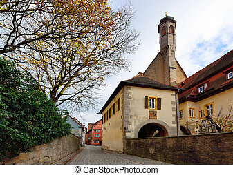Street of town Rotenburg on Tauber in Germany. Facades of ...