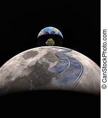 street on moon