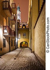 Street On Winter Night In City of Warsaw
