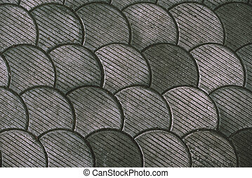 Street paving, fish scale pattern