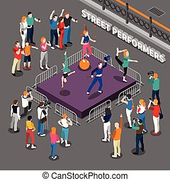 Street Performers Isometric Composition - Street performers...
