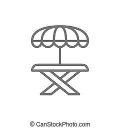 Street picnic table with umbrella line icon.