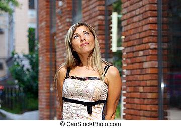 Street portrait of attractive woman